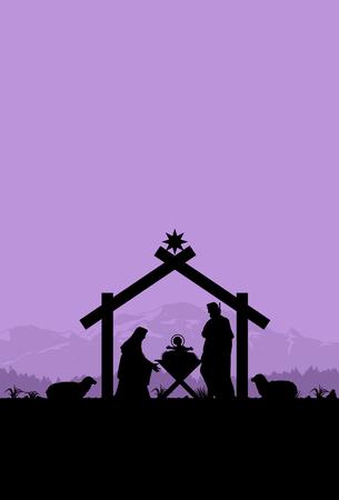 Birth of Christ, Silhouette of Mary, Joseph and Jesus.