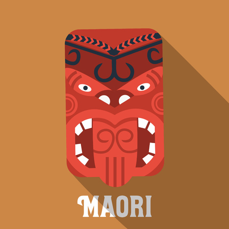Flat design Maori mask icon