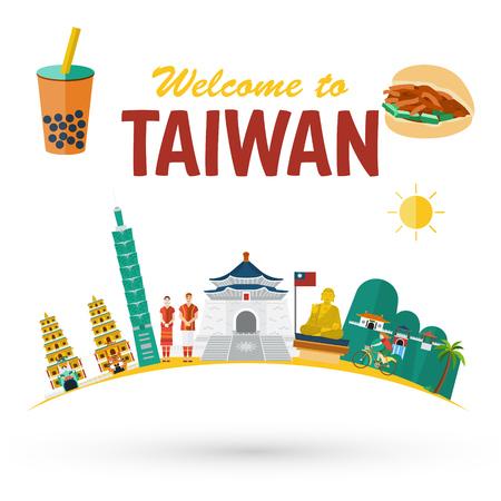 Platte ontwerp Illustratie van Taiwan oriëntatiepunten en pictogrammen vector