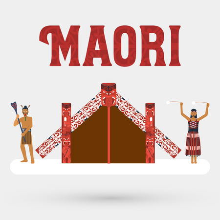 Flat design Illustration of Maori people and Maori meeting house Vector
