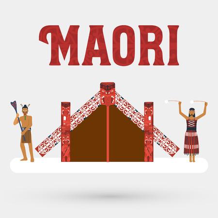 Flat design Illustration of Maori people and Maori meeting house Vector