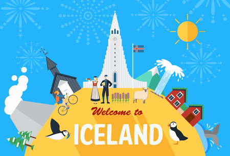 Flat design Iceland landmarks and icons Vector Illustration