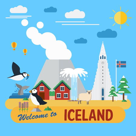 Flat design of Iceland landmarks and icons Vector Illustration