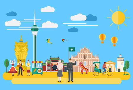 Illustration of Macau landmark vector
