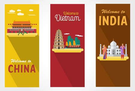 Illustration of flat design banners for travel