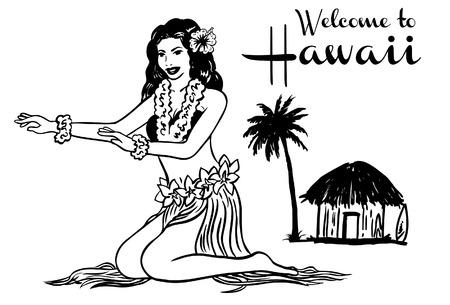 Vector Illustration of Hawaiian hula girl.
