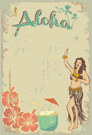 Vector Illustration of Hawaiian hula girl.