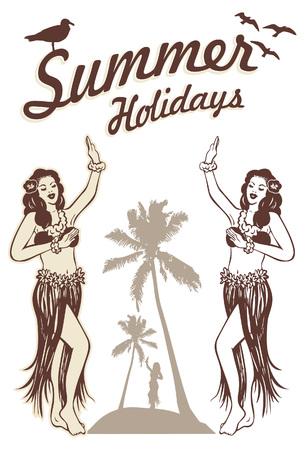 Vector illustration of Hawaiian hula girl. Illustration