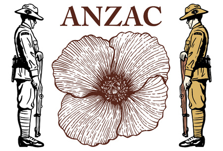Anzac day background with flower, vector illustration. Vectores