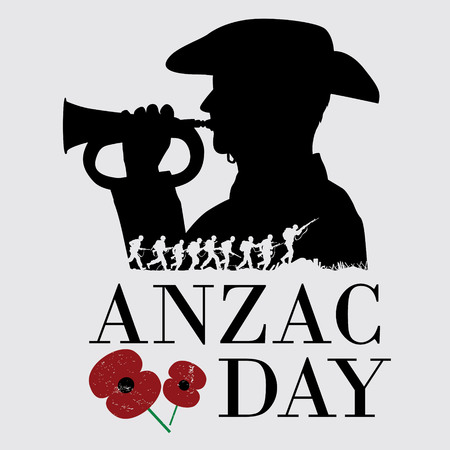 Anzac day background with flower, vector illustration. Çizim