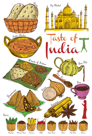 Hand drawn Indian food vector Illustration set.