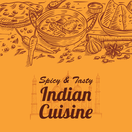 Hand drawn Indian food vector Illustration 版權商用圖片 - 92267102