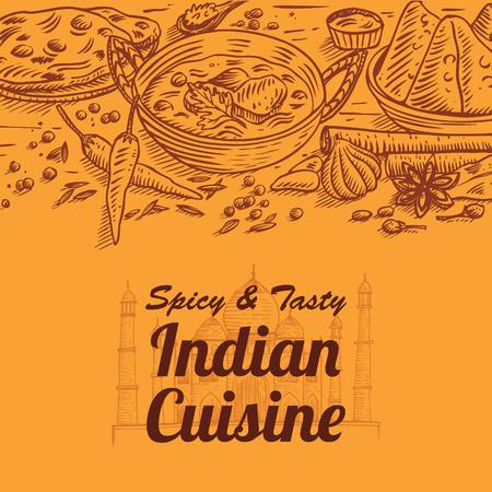 Ręcznie rysowane ilustracja wektorowa indyjskie jedzenie