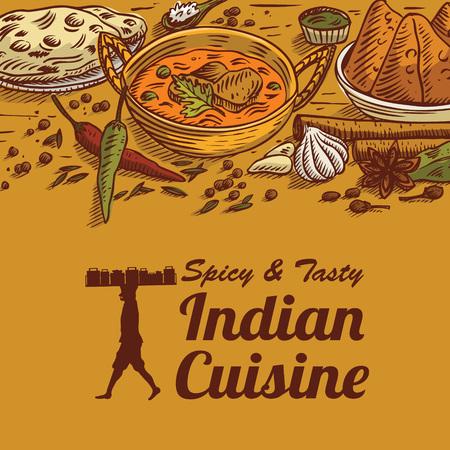 手描きインド料理ベクトルイラスト