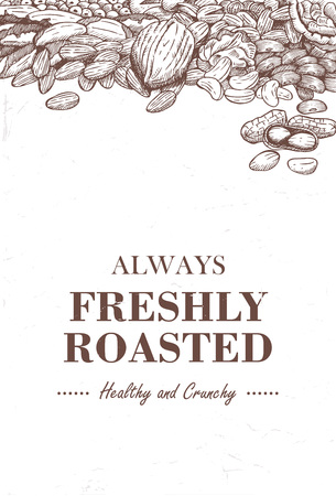 Hand drawn mixed beans with text always freshly roasted