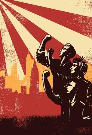 Illustration of people raising fists on sunbeams background, Vector Vector Illustration