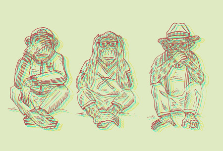 Illustration of 3 wise monkeys in stereoscopic 3d effect.  イラスト・ベクター素材