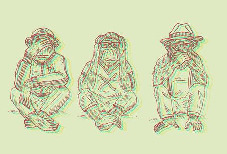 Illustration of 3 wise monkeys in stereoscopic 3d effect. Illustration