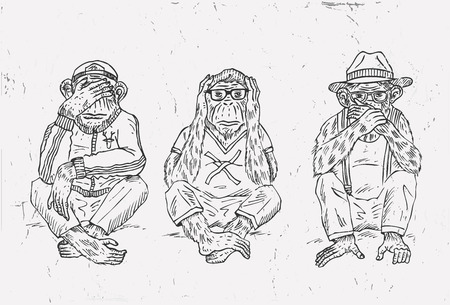 Hand drawn of three wise monkeys, vector. Banque d'images - 92561002