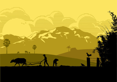 Illustration of farmers are plowing with buffalo and planting rice in the farm at sunset.