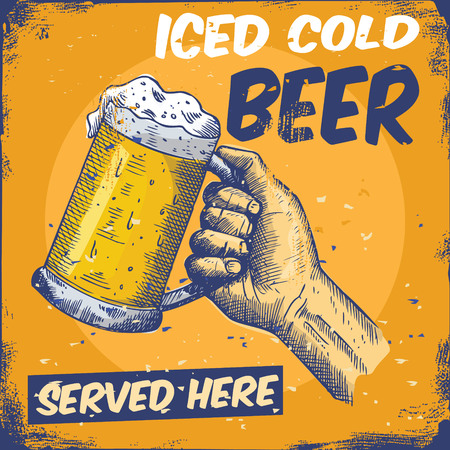 Illustration of hand holding glass of cold beer on grunge background.