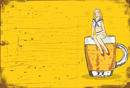 Illustration of a sailor girl sitting on a glass of cold beer Illustration