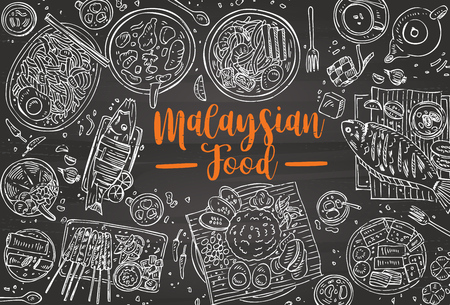 Hand drawn Malaysian food on a blackboard, Top view Asian Food Vector