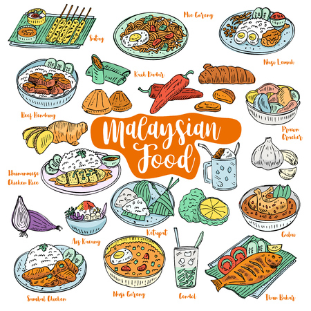 Hand drawn Malaysian food doodles, Vector