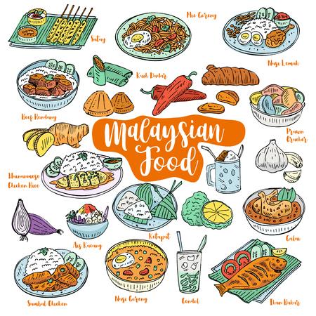 Ręcznie rysowane gryzmoły żywności Malezji, wektor