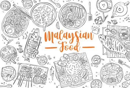 Hand drawn Malaysian food, Top view Asian Food background, Vector