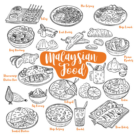 Hand drawn Malaysian food doodles Vector illustration Vettoriali