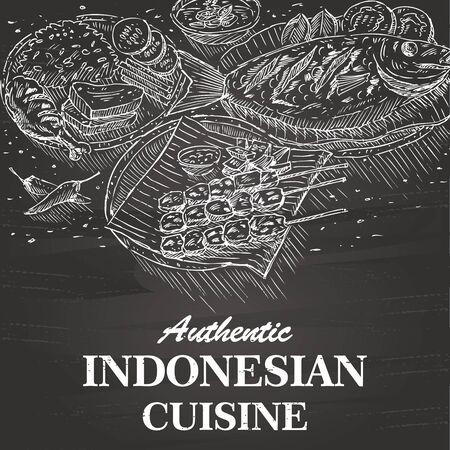 Hand getekend Indonesisch eten op een schoolbord vector