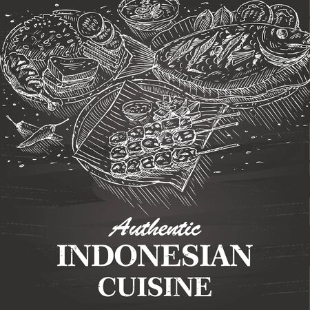 Hand Drawn Indonesian Food on a Blackboard vector Illustration