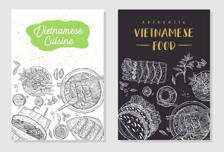 Vietnamese food flyer design Vector illustration Çizim