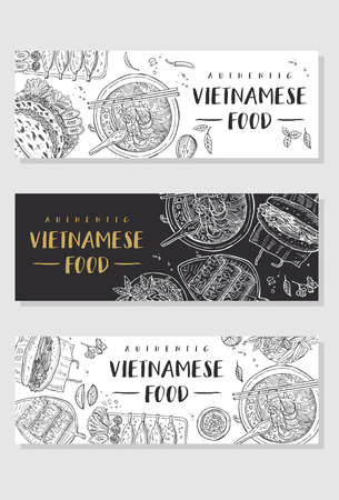 Vietnamese food banner collection Vector illustration
