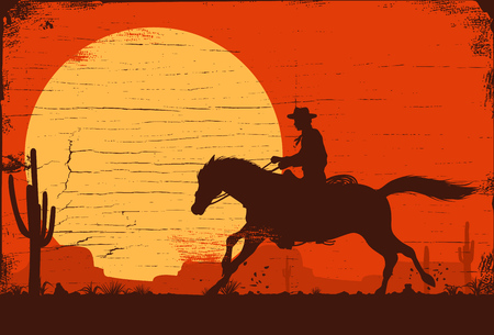 Silhouette of a cowboy riding a wild horse at sunset on a wooden sign, vector Фото со стока - 92665807