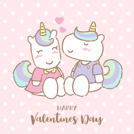 Cute unicorn kissing his girlfriend on Valentine's day, Vector Illustration