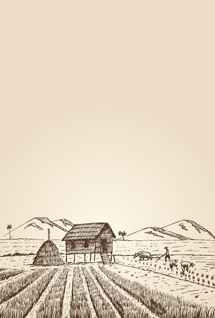 米で手描き農家、ベクトル