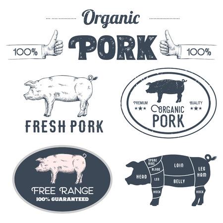 豚肉ラベル、ベクトルイラストは白に分離。  イラスト・ベクター素材