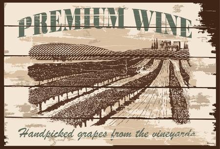 Hand getekend wijngaard teken Stock Illustratie
