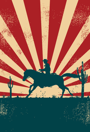 Silhouette of a cowboy riding horse at sunrise, vector