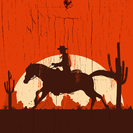 Silhouette of cowboy on running horse on a wooden sign, vector