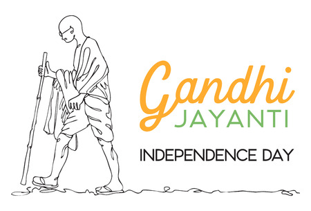 Line drawing Mahatma Gandhi vector