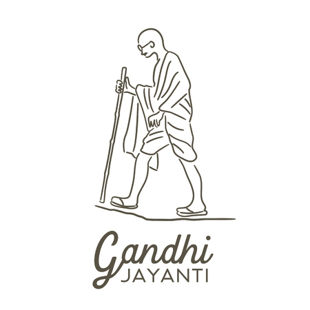 Illustration of Gandhi Jayanti, an Indian activist who was the leader of the Indian independence movement against British rule.