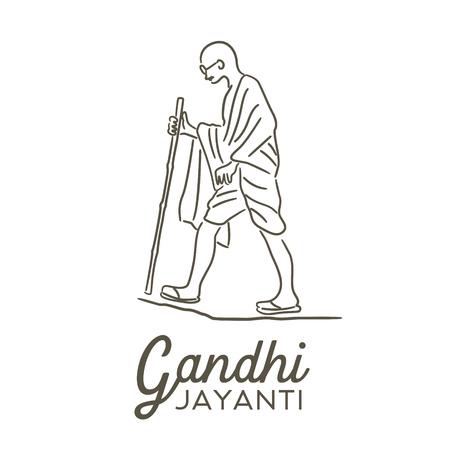 Illustration von Gandhi Jayanti, einem indischen Aktivisten, der Anführer der indischen Unabhängigkeitsbewegung gegen die britische Herrschaft war.