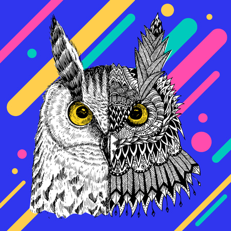 Abstract owl vector illustration.