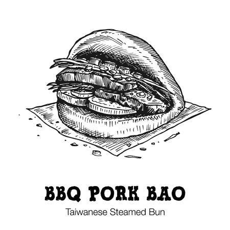 Ręcznie rysowane bbq bao wieprzowina na białym tle. Ilustracje wektorowe