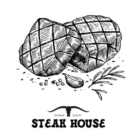 Hand drawn grilled beef steak isolated on white background. Ilustração