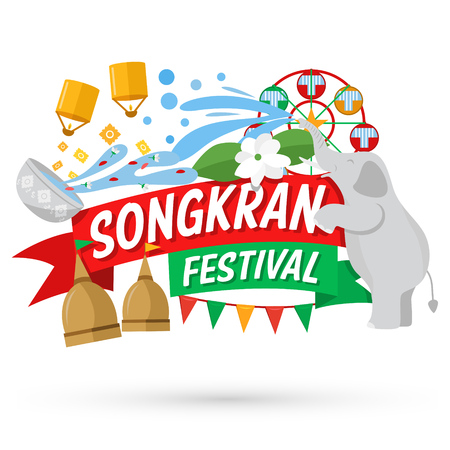 Songkran Festival  Banner, Thai New Years Day Illustration