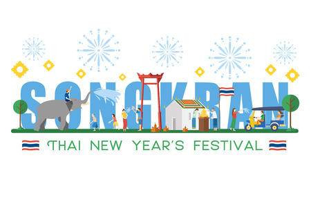 Songkran Festival banner with elephant and sand castle. Thai New Year's Day celebration.